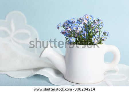 Forget-me-nots flowers in watering can, on blue background - stock photo