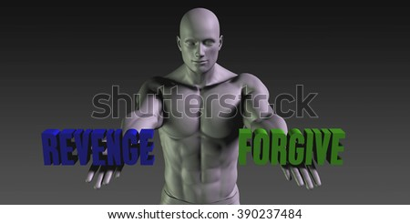 Forgive vs Revenge Concept of Choosing Between the Two Choices - stock photo