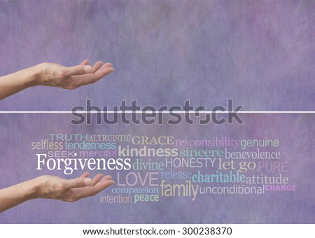 Forgiveness Word Cloud Banner - Female hand outstretched with palm up and the word Forgiveness hovering above surrounded by a relevant word cloud on a lilac colored stone effect background  - stock photo