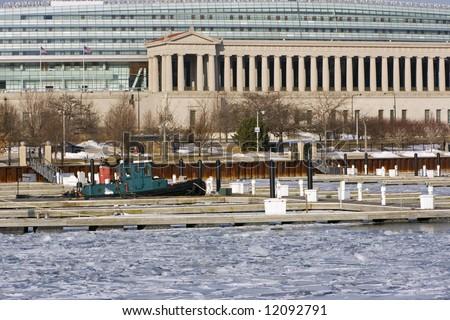 Forgotten boat in the marina - Chicago, Il. - stock photo