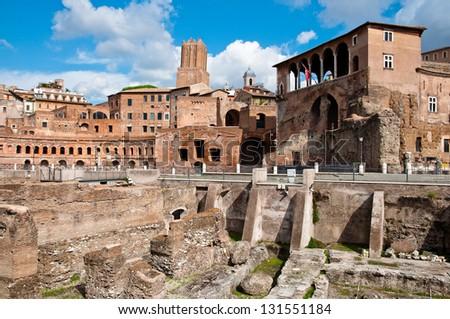 Fori imperiali and Casa dei cavalieri di Rodi at Rome - Italy - stock photo