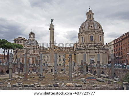 Fori imperiali and Casa dei cavalieri di Rodi at Rome - Italy