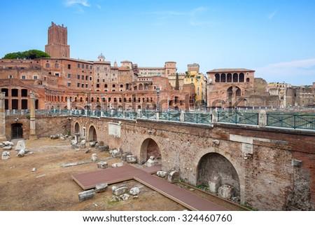 Fori imperiali and Casa dei cavalieri di Rodi, Rome, Italy - stock photo