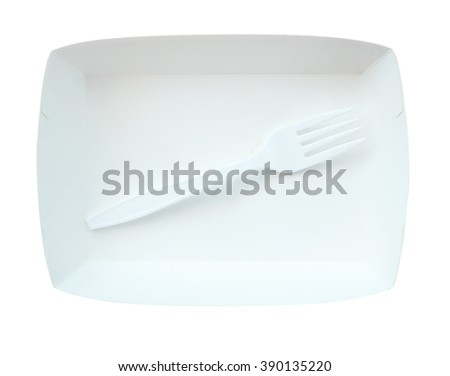 Fork and disposable paper plate - stock photo