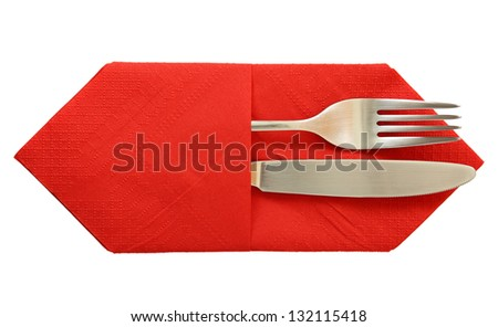 fork and knife in napkin isolated - stock photo