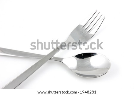 Fork and spoon in isolated white background