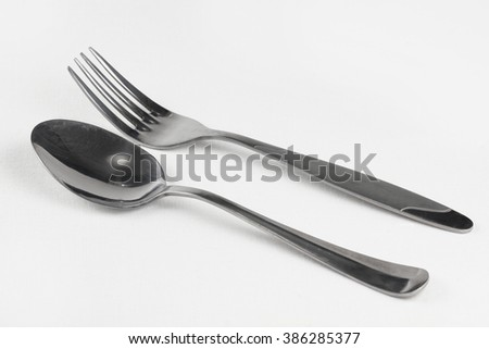 fork and spoon isolated on white background