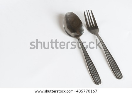 fork and spoon isolated on white background.