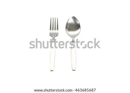 fork and spoon isolated on white background with clipping path