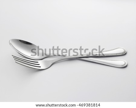 fork and spoon on the white background