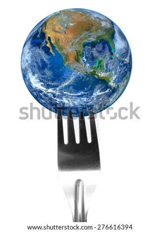 fork and the earth ,including elements furnished by NASA - stock photo