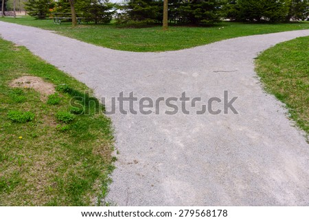 Fork in the path  - stock photo