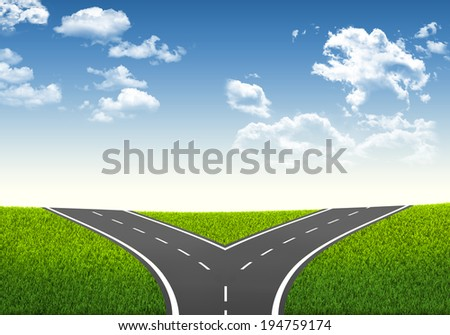Fork in the road. Decision-making framework. Blue sky and grass - stock photo