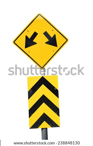 Fork in the road sign on white background. - stock photo