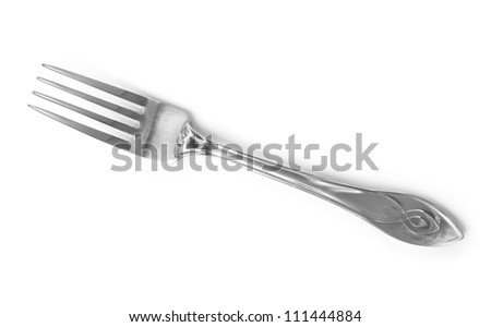 Fork isolated on white background - stock photo