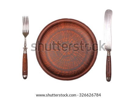 Fork, knife and ceramic dinner plate  isolated on white - stock photo