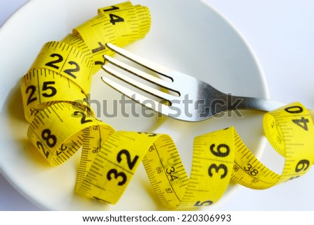 Fork, knife and measuring tape on a plate as a symbol of healthy dieting