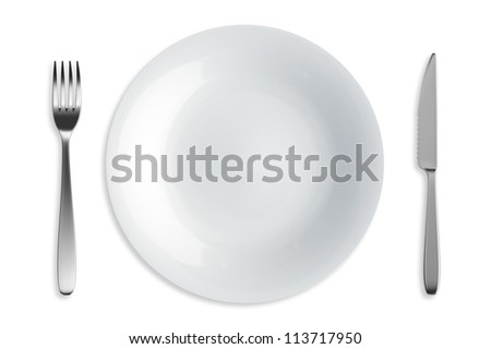 Fork, Knife and Plate - Isolated render with clipping path