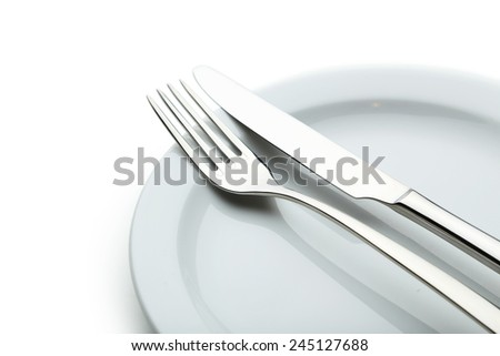 Fork, knife and plate on white background