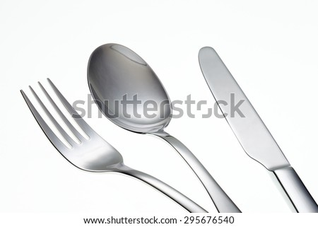 Fork, Knife and Spoon isolated on white background.