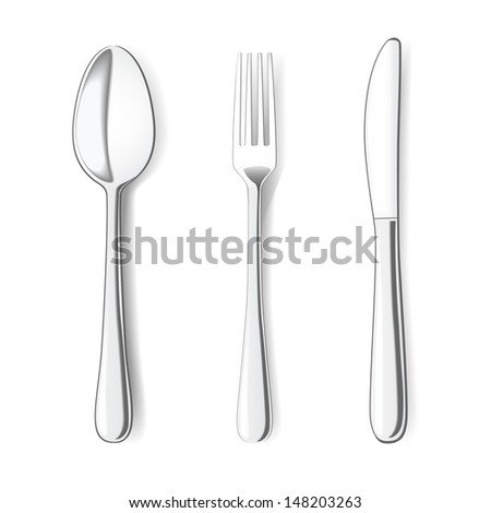 Fork, Knife and Spoon on white background. Raster version
