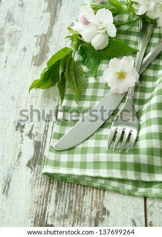 fork, knife and spring branch on wooden boards - stock photo