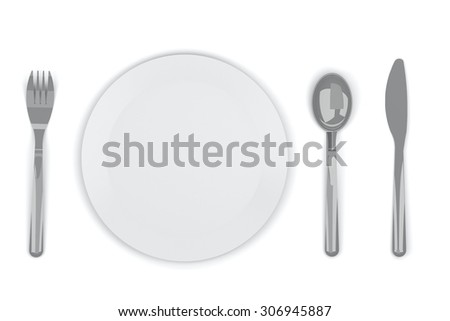 Fork knife dish spoon on white background