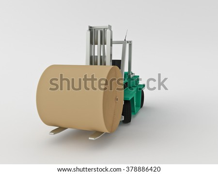 fork-lift truck carry his cargo on a white background - stock photo