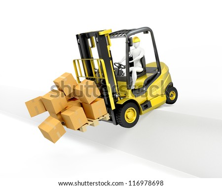 Fork lift truck falling from loading dock, isolated on white background - stock photo