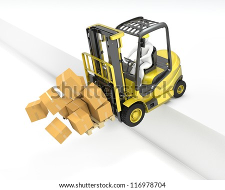 Fork lift truck falling from loading dock, isolated on white background