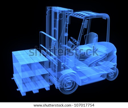 Fork lift truck, with cardboards,  x-ray version - stock photo