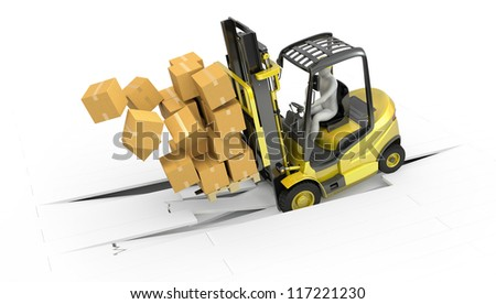 Fork lift truck with heavy load crsshing through floor, isolated on white background - stock photo