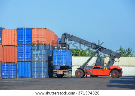 fork lifter and container,logistic concept - stock photo