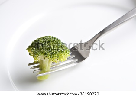 Fork on Plate with Broccoli