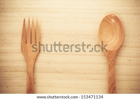 fork on wood - stock photo