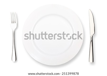 fork plate knife on a white background