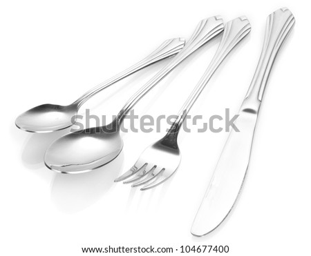 Fork, spoon and knife isolated on white