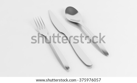 Fork, spoon and knife, isolated on white background.