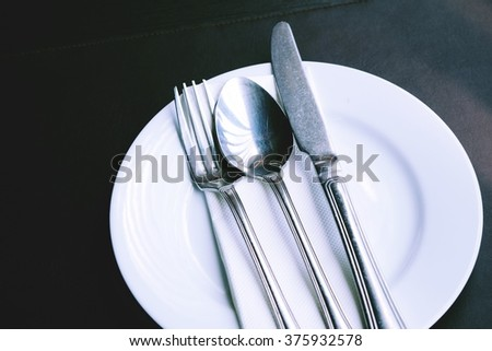 Fork spoon and knife on plate