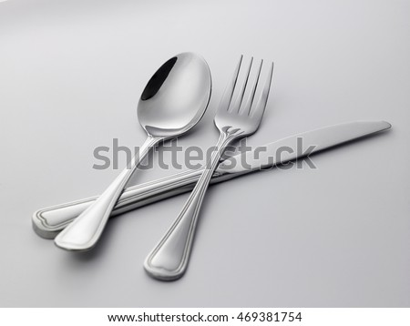 fork,spoon and knife on the white background