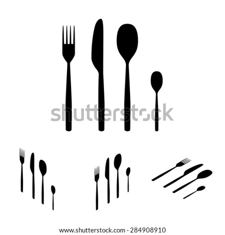 Fork spoon knife. Flat isometric style
