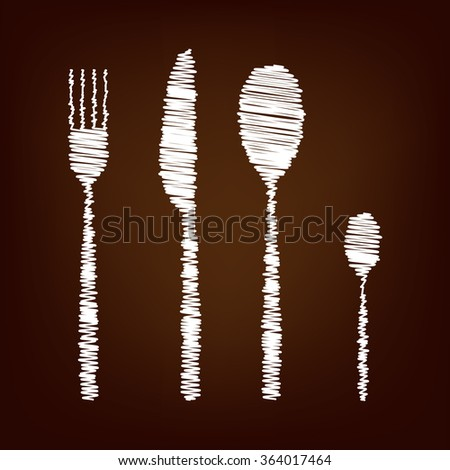 Fork spoon knife icon. illustration with chalk effect