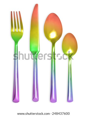 Fork spoons and knife isolated on white background - stock photo