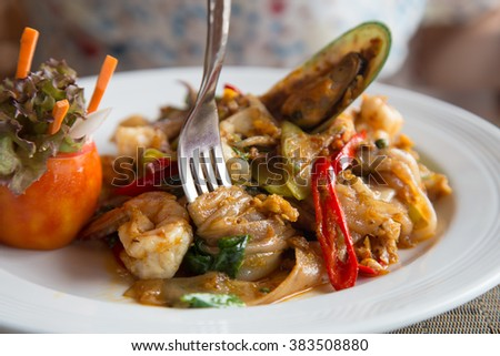 Fork White noodle dish. Seafood dish white breakfast meal. - stock photo