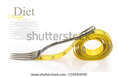 Fork with a measure tape isolated on white