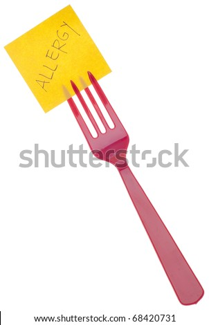 Fork with Allergy Message Isolated on White with a Clipping Path. - stock photo