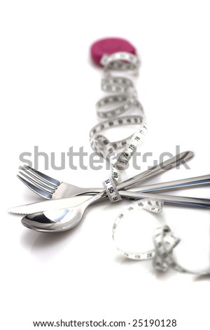 fork with measure, on white - stock photo