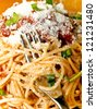 forkful of spaghetti - stock photo