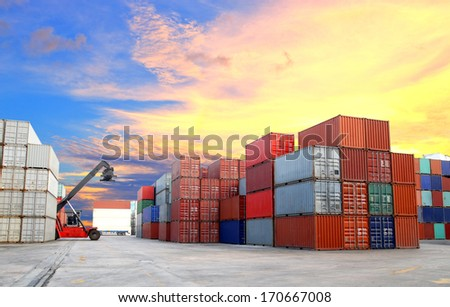 forklift at dockyard with beautiful sky - stock photo