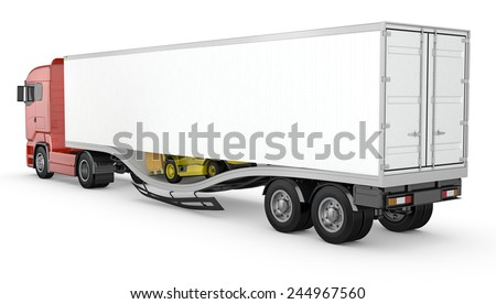 Forklift breaks trough semi-trailer floor, accident, isolated on white background